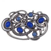 Pewter Blue Lapis Fire Opal Viking Serpent Brooch