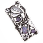 Pewter. Style Opal Leaf Rectangle Brooch