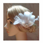 Jelinda Women's White Feather with Pearl Bridal Fascinator Wedding Hair Clip Hair Accessory