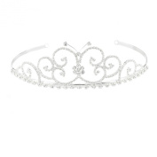 Mytoptrendz Silver Plated Clear Crystal Butterfly Tiara