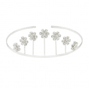 Silver Plated Diamante Flower Tiara