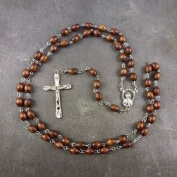 Dark Brown wood oval beaded rosary beads 56cm length men or women