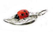 CLASSIC DESIGNS Sterling Silver 925 Enamelled Ladybird/Bug On Leaf Charm N620
