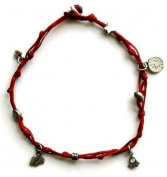 Mizze Made For Luck Jewellery Red Anklet With Evil Eye & Good Luck Charms
