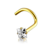 Nose Stud Screw Piercing Body Jewellery, 9 ct Yellow Gold, Square White Stone