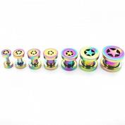 1 Set of Flesh Tunnel Ear Plug Piercing Star 2- 10 mm 7 Pieces Rainbow