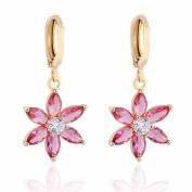Yazilind Charming Flower Design 14K Gold Filled Inlay Cubic Zirconia Dangle Drop Earrings for Women