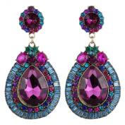 Yazilind Luxurious Full Colourful Crystal Waterdrop Shape Flower Metal Dangle Drop Earrings