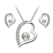 Jewellery Set Heart and Soul Pendant Necklace+Earring Stud Round Shaped. Clear White Crystals