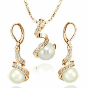 Yoursfs 18k Gold Plated Bridal Jewellery Set Use Austria Crystal Pearl Necklace and Earring