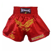 Eagle Embroidery Muay Thai MMA Shorts Kick Boxing Fight Trunks Red, XXL
