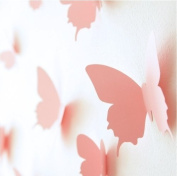 12PCS PINK 3D Butterfly Wall Stickers self-adhesive Vivid Mural Decal Art Home Wedding Shop Decoration DIY