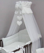 Luxury Baby Cot Bed Crown Canopy / Mosquito Net 480 cm + Clamp Holder / Rod / Stand HEART - WHITE