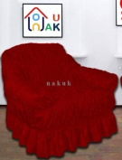 RED WINE Jacquard Arm Chair Cover - Universal Elastic Fitting. a throw) NAKUK
