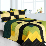 [Lucky Break] 3PC Vermicelli-Quilted Patchwork Quilt Set