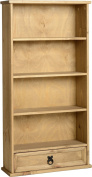 Corona Mexican 1 Drawer Bookcase DVD Rack Storage Unit Solid Pine Waxed Finish