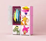 Kids Wardrobe Toy Boxes Children Storage Cubes Interlocking Storage Units Home Organiser - 6 Cartoon Cubes