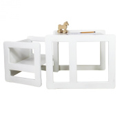 3 in 1 Childrens Furniture Multifunctional Set of 2 One Chair Table Small and One Chair Table Large Beech Wood, White Stained