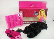 SLEEP-IN 10 ROLLERS + clip on hair EMERGENCY CURLY BLOW KIT black hair