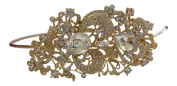 Pick A Gem Elegant Gold Clear. Elements Headband / Bridal / Side Fascinator