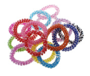 Phone wire hair elastic, plastic, with round spot pattern, mixed colours, 5-10mm, 4 PCs/bag, sold by bag