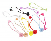 Rubber children hair accessories, with plastic, flower, elastic, mixed colours, 90x18mm, 10 PCs/bag, sold by bag