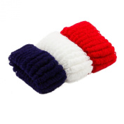 Pack Of 3 Large Red,White And Navy Blue Soft hair Ponio/Hair Donut/ Hair Bobble