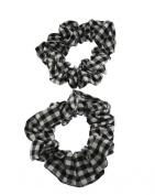 Set of 2 Black Gingham Hair Scrunchies