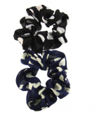 Set of 2 Heart Hair Scrunchies - One Black and One Navy