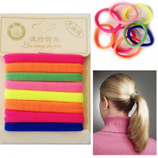 8 x Hair Bands Ponytail Band Florescent Elastic Rubber Thick Hair Bobbles Satin Finish Hairbands