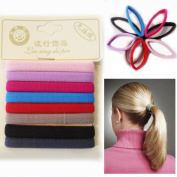 8* Hair Bands Ponytail Bands MIX COLOUR Elastic Rubber Thick Hair Bobbles Satin Finish Size 65mm Hairbands