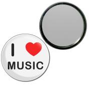 I Love Music - 55mm Round Compact Mirror