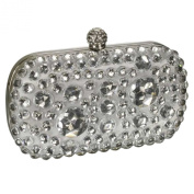Sparkly Crystal Satin Clutch Evening Bag Gift Boxed With A Long Chain - Gift Boxed