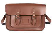 36cm Chestnut Brown English Magnetic Snap Leather Satchel - Classic Retro Fashion Bag
