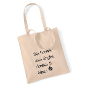 This Hooker Does Singles, Doubles & Triples Crochet Cotton Tote Bag Present Crafter Stash Yarn Wool