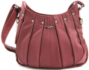 On Trend Ladies Real Leather Handbag / Shoulder Bag with Pleated Design and Long Adjustable Strap