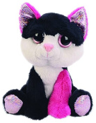 Suki Gifts Lil Peepers Fun Diva Pink and Black Cat Plush Toy with Silver Sparkle Accents