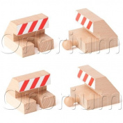 """Orbrium Toys Track End Bumper Buffer Stop Set Wooden Railway Fits Thomas Brio Chuggington Melissa Doug Imaginarium"