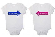 """Twins Baby bodysuits (Set Of 2) """"It Was Him"""" and """"It Was Her"""" Babygrow Vest"""