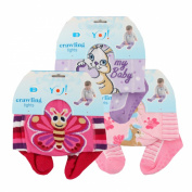 RA-25 Baby Crawling Tights for Girls with Anti-Slip Set of 3 Pink 12 - 18 Months