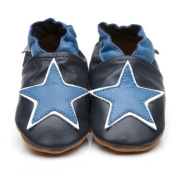 Soft Leather Baby Shoes Blue Star 6-12 Months