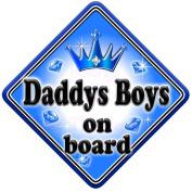 GEM JEWEL DADDYS BOYS Baby on Board Car Window Sign