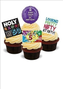 NOVELTY 50TH BIRTHDAY PARTY MIX Male Man Blue - Standups 12 Edible Standup Premium Wafer Cake Toppers