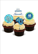 NOVELTY 40TH BIRTHDAY PARTY MIX Boys Male Blue - Standups 12 Edible Standup Premium Wafer Cake Toppers