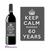 Keep Calm 60th Diamond Wedding Anniversary Wine bottle label Celebration Gift for Women and Men.