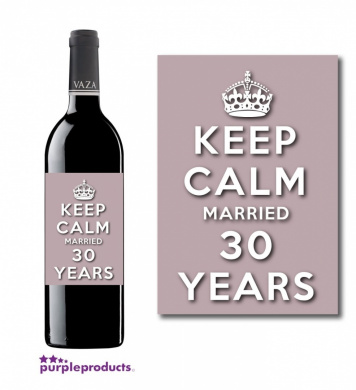 Keep Calm 30th Pearl Wedding Anniversary Wine bottle label Celebration Gift for Women and Men.