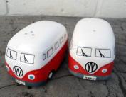 NEW VW Camper Van Salt and Pepper Pots / Cruet Set Red