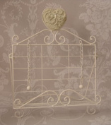 White Metal Cookery cook Book holder Stand with Heart Detail