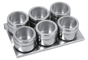 Equinox 505252 Set of 6 Spice Jars Magnetic Stainless Steel/Acrylic