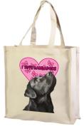 Black Labrador Cotton Shopping Bag, Cream
